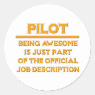 Awesome Pilot .. Official Job Description Classic Round Sticker
