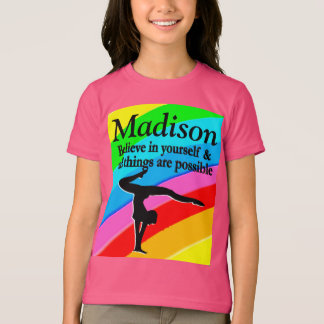 AWESOME PINK PERSONALIZED GIRLS GYMNASTICS DESIGN T-Shirt