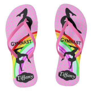 AWESOME PINK PERSONALIZED GYMNASTICS FLIP FLOPS