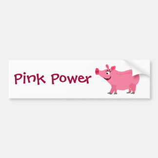 Awesome Pink Pig Wearing Lipstick Art Bumper Sticker