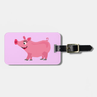 Awesome Pink Pig Wearing Lipstick Art Luggage Tag