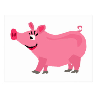 Awesome Pink Pig Wearing Lipstick Art Postcard