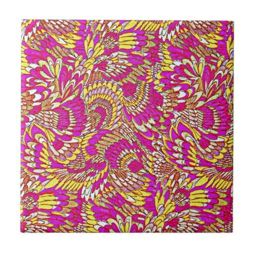 Awesome Pink Yellow Abstract Pattern Design Tile