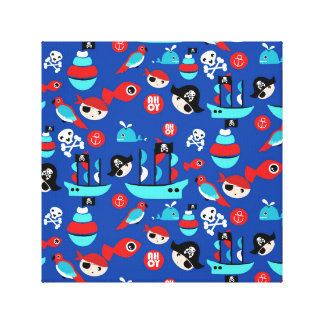 Awesome pirate pattern canvas print