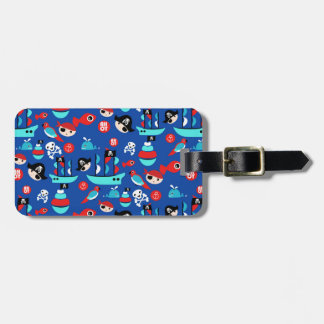 Awesome pirate pattern luggage tag
