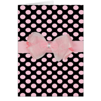 Awesome polka dot bows & rhinestone blank greeting greeting card