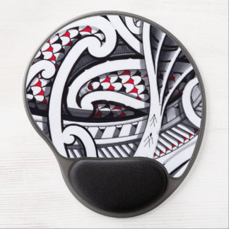 awesome polynesian maori design with red accents gel mouse pad
