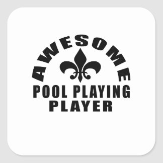 AWESOME POOL PLAYING PLAYER SQUARE STICKER