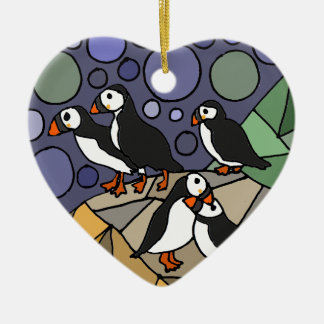 Awesome Puffin Bird Art Abstract Original Ceramic Ornament