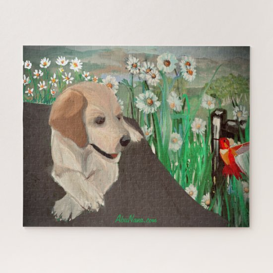 Awesome Puppy, Daisies, & Hummingbird Jigsaw Puzzle