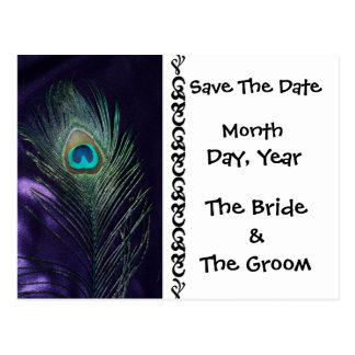 Awesome Purple Peacock Save the Date Postcard