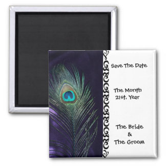 Awesome Purple Peacock Wedding Save the Date Magnets