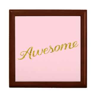 Awesome Quote Gold Faux Glitter Pink Personalized Keepsake Box