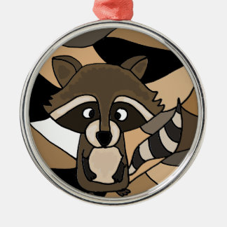 Awesome Raccoon Art Abstract Metal Ornament