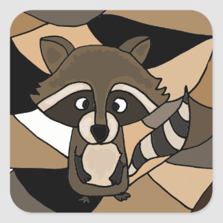 Awesome Raccoon Art Abstract Square Sticker