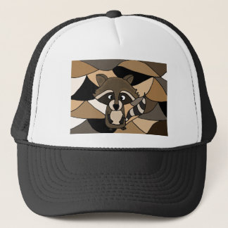Awesome Raccoon Art Abstract Trucker Hat