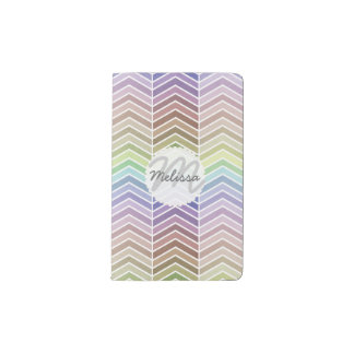 Awesome Rainbow and Textured Chevron Pattern Pocket Moleskine Notebook