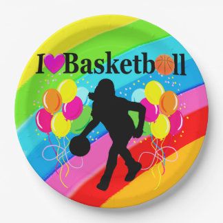 AWESOME RAINBOW I LOVE BASKETBALL PAPER PLATES