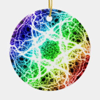 awesome rainbow lightning Double-Sided ceramic round christmas ornament