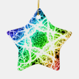 awesome rainbow lightning Double-Sided star ceramic christmas ornament