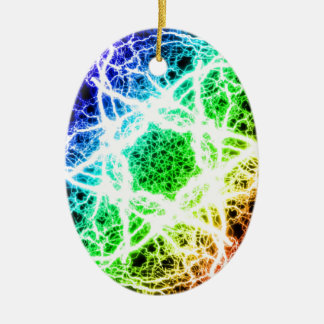 awesome rainbow lightning Double-Sided oval ceramic christmas ornament