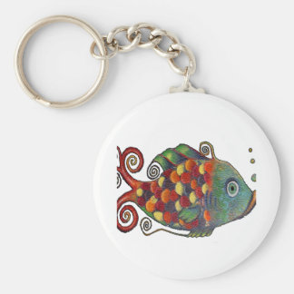 Awesome Rainbow Whimsical Fish Artsy Hippie Cool Basic Round Button Keychain