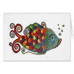 Awesome Rainbow Whimsical Fish Artsy Hippie Cool Greeting Cards