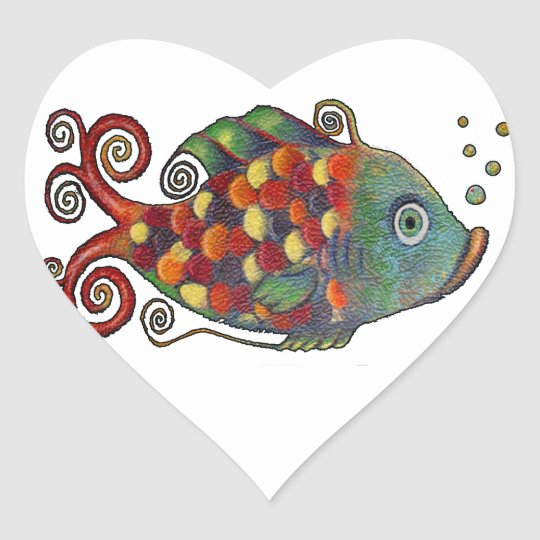 Awesome Rainbow Whimsical Fish Artsy Hippie Cool Heart Sticker