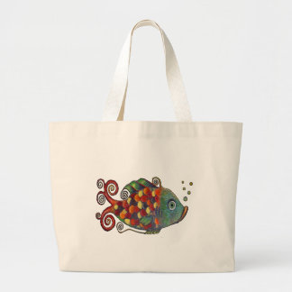Awesome Rainbow Whimsical Fish Artsy Hippie Cool Large Tote Bag