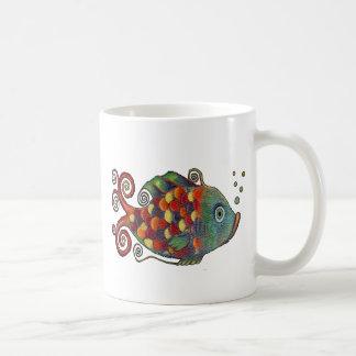 Awesome Rainbow Whimsical Fish Artsy Hippie Cool Coffee Mugs