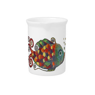 Awesome Rainbow Whimsical Fish Artsy Hippie Cool Drink Pitcher