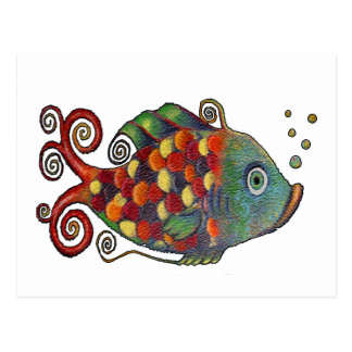 Awesome Rainbow Whimsical Fish Artsy Hippie Cool Postcard