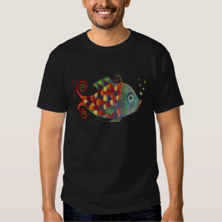 Awesome Rainbow Whimsical Fish Artsy Hippie Cool Shirts
