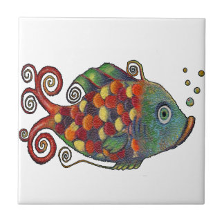 Awesome Rainbow Whimsical Fish Artsy Hippie Cool Small Square Tile