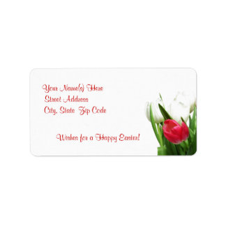 Awesome Red and White Tulip Design Label