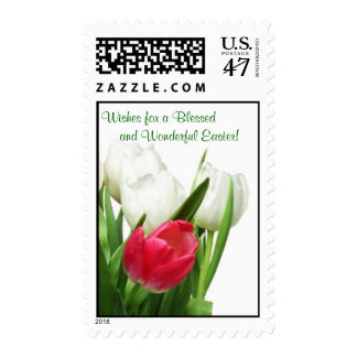 Awesome! Red and White Tulips Postage