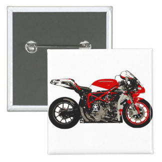 Awesome Red Racing Motorcycle Button