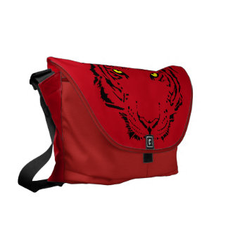 Awesome Red Tiger Face Courier Bag