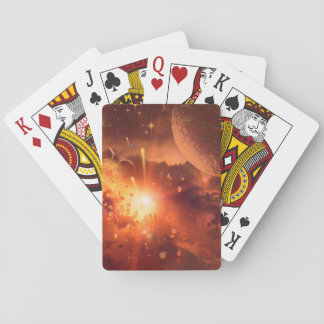 Awesome red universe playing cards