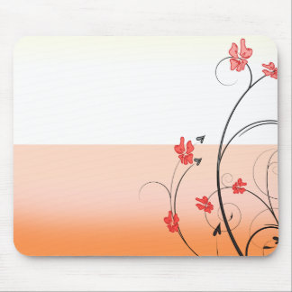 Awesome reddish blossom and black swirls mouse pad