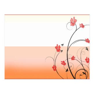 Awesome reddish blossom and black swirls postcard