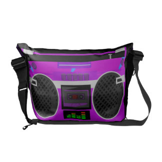 Awesome Retro Purple Boombox Courier Bag
