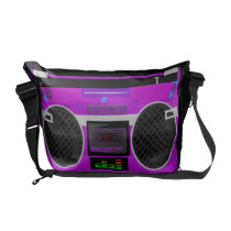 Awesome Retro Purple Boombox Messenger Bag