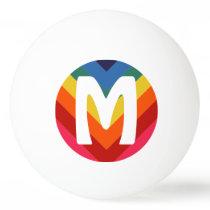 Awesome Retro Rainbow Ping Pong Ball Monogram