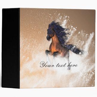 Awesome running horse with blue mane vinyl binder