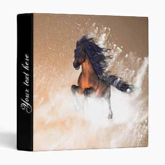 Awesome running horse with blue mane 3 ring binders