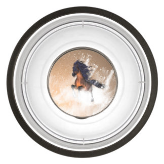 Awesome running horse with blue mane pet bowl