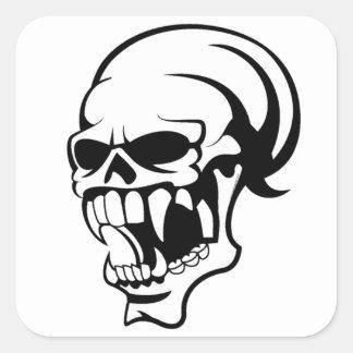 Awesome Scary skull B & W Print -Sticker Square Sticker