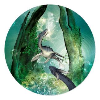 Awesome seadragon in a fantasy underwater world card