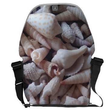 Beach Themed Awesome Seashells Up Close Print Messenger Bag